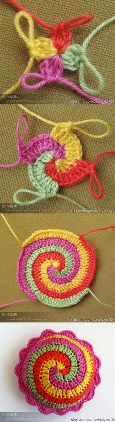 "Crochet Stitches Ideas Spiral crochet tutorial - You've seen already this cushion on my ""Pinky"", and now is time to chat about it! I've seen this crochet stitch (spiral stitch, you can find a tutorial here or there) and I … Mandala Au Crochet, Crochet Diy, Crochet Amigurumi, Crochet Motifs, Freeform Crochet, Crochet Squares, Love Crochet, Crochet Crafts, Crochet Stitches"