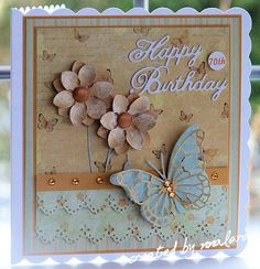 """""""Happy Birthday' Card (Note: card made with Memory Box dies & a Martha Stewart border punch) (Site - product info) Homemade Birthday Cards, Birthday Wishes Cards, Homemade Cards, Scrapbooking, Scrapbook Paper Crafts, Scrapbook Cards, Butterfly Cards, Flower Cards, Make Your Own Card"""