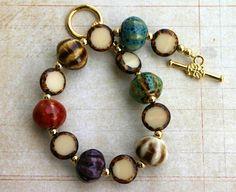Ceramic and gold bracelet by JewelryByLoriStave on Etsy