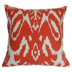 Add a pop of color to your patio seating group or porch swing with this bright pillow, showcasing an ikat-inspired design in red.   ...