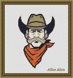 Cross Stitch Pattern Head Cowboy Western monochrome от HallStitch