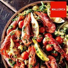 Paella with Soller prawns and grilled vegetables
