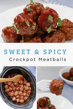 Only 5 minutes of prep and you can let the crockpot do all the work to make these perfectly sweet and spicy crockpot meatballs! Perfect as an appetizer for Game Day. Or serve up with mashed potatoes for an easy weekday meal. Yummy Pasta Recipes, Pizza Recipes, Soup Recipes, Fast Easy Dinner, Easy Weekday Meals, Sweet And Spicy Sauce, Crock Pot Meatballs, Great Appetizers, Homemade Soup