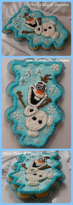 Olaf Cupcake Cake (Pull-Apart-Cupcake Cake) 24 vanilla cupcakes Follow me: www.facebook.com/chioscakes #Frozen #Olaf