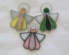Angels stained glass ornament set of 3 angel favors suncatchers