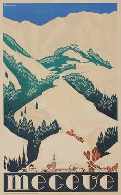Megève - station de sports d'hiver - France - Ski Vintage, Vintage Ski Posters, Evian Les Bains, Tourism Poster, Travel Ads, Ville France, France Travel, Skiing, Station Ski