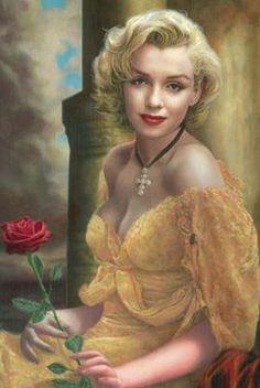 Marilyn Monroe wearing a yellow lace dress and holding a red rose