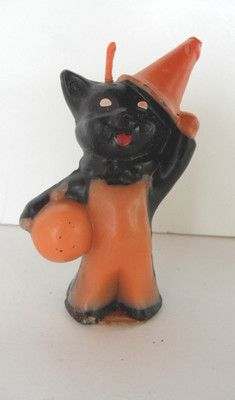 Vintage Halloween Gurley Candle ~ Black Cat w/ Witch Hat & Pumpkin * Circa, 1950's