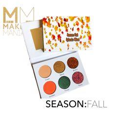 Fall Makeup, Eye Makeup, Indie Makeup, Golden Glitter, Coral Orange, Hunter Green, Eyeshadow Palette, Seasons, Beauty