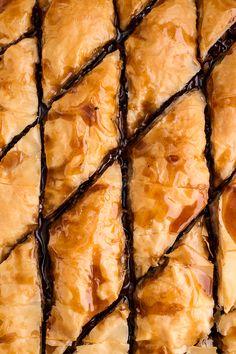 "Chocolate ""Candy Bar"" Baklava with Butter Rum Sauce | halfbakedharvest.com @hbharvest"