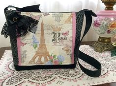 Paris Eiffel Tower Shoulder Bag, zipper, pink roses, black lace, cloth purse handbag, cottage, Shabby Chic, French, butterfly, LizBagz by LizBagz on Etsy