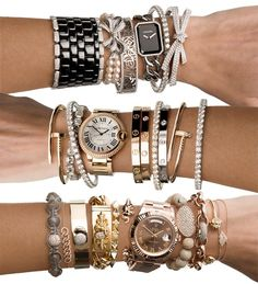 amazing bracelets. i will own a cartier love bracelet, hopefully one day sooner rather than later.