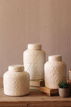 Ivory Ceramic Canisters with Geometric Pattern, Set of 3