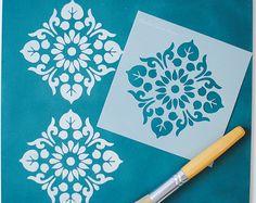 Mini Kota Stencil Stencil Fabric, Stencil Patterns, Stencil Diy, Stencil Designs, Paint Designs, Stenciling, Wall Fabric, Diy Wall Painting, Stencil Painting