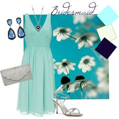 Bridesmaid Collection #3 Navy and Aqua, created by vintagerose914 on Polyvore