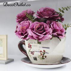 flores, posillo, maceta, vintage,