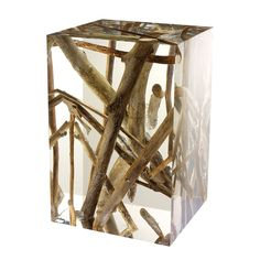 Bleunature - Acrylic Stool with encapsulated twigs and branches