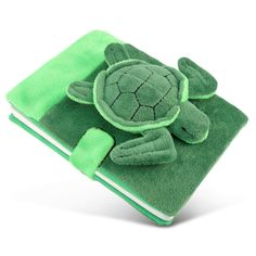 Puzzled Green Polyester Plush Sea Turtle Notebook