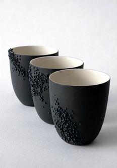 Black ceramic cups