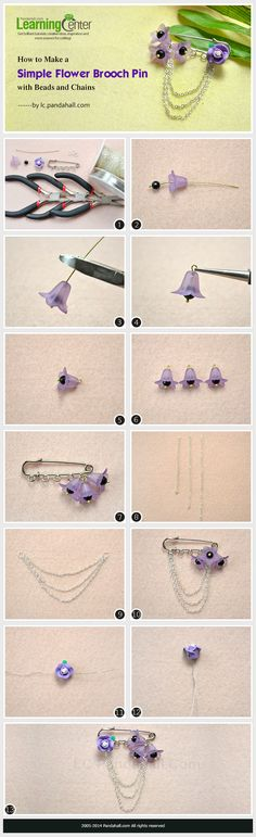 How to Make a Simple Flower Brooch Pin with Beads and Chains