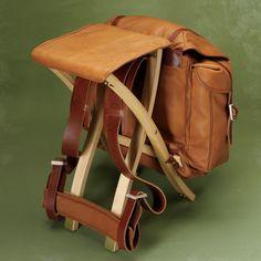 Backpack Seat / Handcrafted Reindeer leather Rucksack/Stool -- Orvis