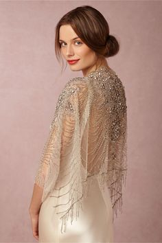 """Ursa"" beaded wrap/ embelllished sheer tulle shawl from Carol Hannah // Sun-Kissed Glamour: BHLDN's Spring II Collection Bridal Bolero, Bridal Cape, Bridal Gowns, Wedding Gowns, Wedding Bolero, Wedding Cape, Wedding Dress Sleeves, Long Sleeve Wedding, Wedding Dress Capelet"