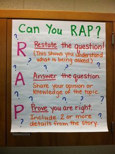 Anchor Chart: R-Restate the questions A-Answer the Question C-Cite the evidence you found E-Explain your reasoning