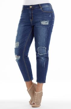 Jean With Knee Patch - Dark Denim Style No: length denim jean with knee patch and rips. This stylish blue denim jean features on-trend rips and a patch on the knee. This length straight leg jean is the perfect partner to any seasonal top. 3 4 Jeans, Blue Denim Jeans, Dark Denim, Skinny Jeans, Patched Jeans, Denim Fashion, Diva, Patches, Plus Size