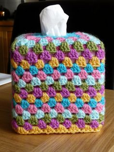 granny square tissue box cover!