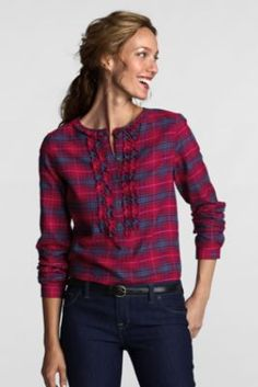 Women's Long Sleeve Flannel Ruffle Popover Shirt from Lands' End