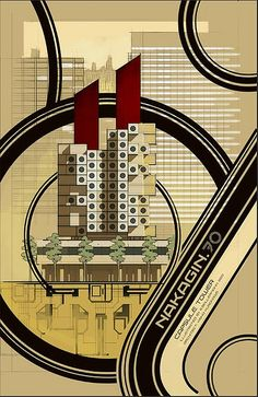 :: Nakagin Capsule Tower by Kisho Kurokawa, located in Shimbashi, Tokyo, Japan. Poster for, kisho kurokawa 1972