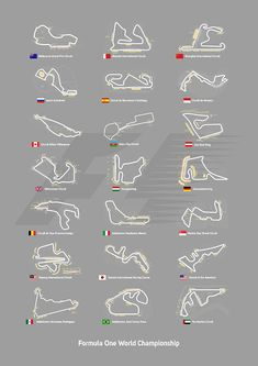 F1 Circuits Digital Art by Afterdarkness f1, formula one, formula 1, f1 grand prix circuits, circuits, f1 circuits, auto racing, racing car, barcelona, monaco, silverstone, hungaroring, hockenheimring, monza, sepang, suzuka , circuit of the americas, mercedes, ferrari, williams, mclaren, lewis hamilton, sebastian vettel, kimi raikkonen, felipe massa, jenson button, fernando alonso, office, office decor, game room, man cave, media room, cafe decor, lobby, bar, pub, cafe, home decor, grey