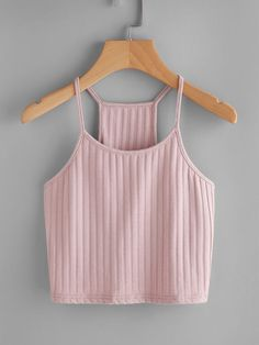 Casual Cami Plain Slim Fit Spaghetti Strap Pink and Pastel Crop Length Ribbed Racer Cami Top Crop Top Outfits, Cute Casual Outfits, Summer Outfits, Cute Crop Tops, Cami Tops, Halter Tops, Teen Fashion Outfits, Ladies Fashion, Womens Fashion