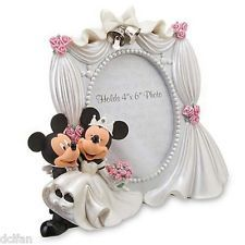 Disney Parks Wedding Mickey Minnie Mouse Picture Photo Frame 4x6 NEW
