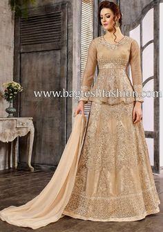 Buy Beige Silk Lehenga with Silk Choli - Lehenga Choli for Women from Andaazfashion at Best Prices. Lehenga Choli, Robe Anarkali, Bollywood Lehenga, Silk Lehenga, Anarkali Suits, Lehenga Style, Pakistani Suits, Pakistani Dresses, Saree