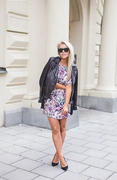 2015 leather jacket / IRO dress / Zara / shoes / Topshop