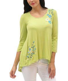 Look at this #zulilyfind! Citrus Green Embroidered Alice Hi-Low Top - Women by Caite #zulilyfinds