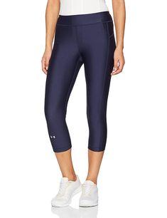 Under Armour Women's UA HeatGear Armour Capris Midnight Navy/Midnight Navy Pants Leggings, Tights, Jogger Pants, Joggers, Womens Size Chart, Navy Pants, Navy Women, Sport, Program Design