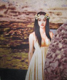 Silk portrait of Chinese beauty