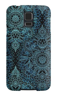 """Black, Teal & Aqua Protea Doodle Pattern"" Samsung Galaxy Cases & Skins by micklyn 