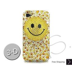 Smiling Face 3D Bling Swarovski Crystal iPhone 5 Case - Yellow