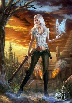 fantasy and science fiction: Bild Fantasy Girl, Fantasy Female Warrior, Chica Fantasy, Fantasy Art Women, Dark Fantasy Art, Fantasy Artwork, Female Art, Fantasy Characters, Female Characters