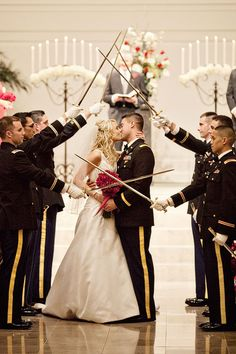 Military Wedding... I love the sabers!!! ❤️