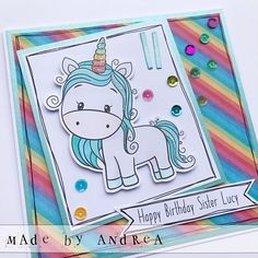 Unicorn Cards, Happy Birthday Sister, Kids Cards, Stamp, Stamps