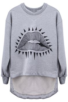Grey Mouth Pullover Sweatshirt