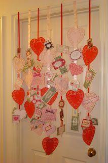Festive valentine wall banner. I hung this over my daughter's doorway for a fun Valentine surprise. Scrapbooking Journal Of Karen Decker