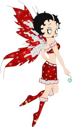 Betty Boop fairy with red wings and outfit with boots  Source: Created by Katherine