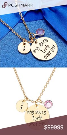 """‼️COMING SOON‼️""""My Story Isn't Over Yet"""" Necklace Coming Soon!!! Like This Listing To Bookmark It!! Brand New Boutique Item In Packaging And Mesh Bag. Gold Tone Necklace. Makes A Beautiful Gift For Yourself Or Your Loved Ones. 50 cm Boutique Jewelry Necklaces"""