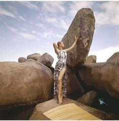 Veruschka at #beach on large #rocks wearing #Galitzinemaillot in white with brown print and matching #skirt in the reverse pattern with deep side slit Vogue 1965 #HenryClarke#fashion #fashionicon #fashiondesign #fashionphotography #photography #photographer #hairandmakeup #makeup #beauty #veruschka #veruschkavonlehndorffk