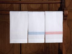 Hampton Court Guest Towels. Classic, pure linen guest towels are the height of luxury with crisp, three line embroidery underlined with a narrow zig-zag finish and flanged for simple elegance. Imported from Italy in White, Blue, Pink, Beige, Gray or Navy. A perfect compliment to our Hampton Court bedding and bath collections, it's the quintessential finishing touch for your guests.  #BathLinen #Towels #schweitzerlinen